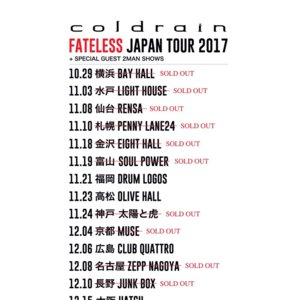 coldrain FATELESS JAPAN TOUR 2017 大阪