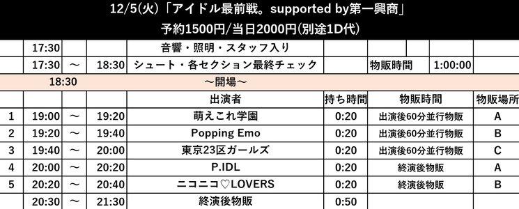 12/5 『アイドル最前戦。supported by第一興商』3シーズン