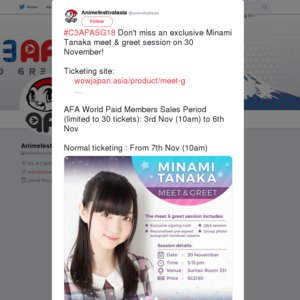 C3AFA SINGAPORE 2018 1日目 Minami Tanaka Meet & Greet