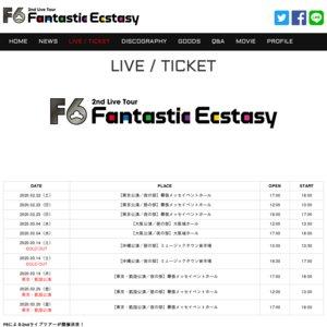 F6 2nd Live Tour「Fantastic Ecstasy」大阪公演3月4日夜の部